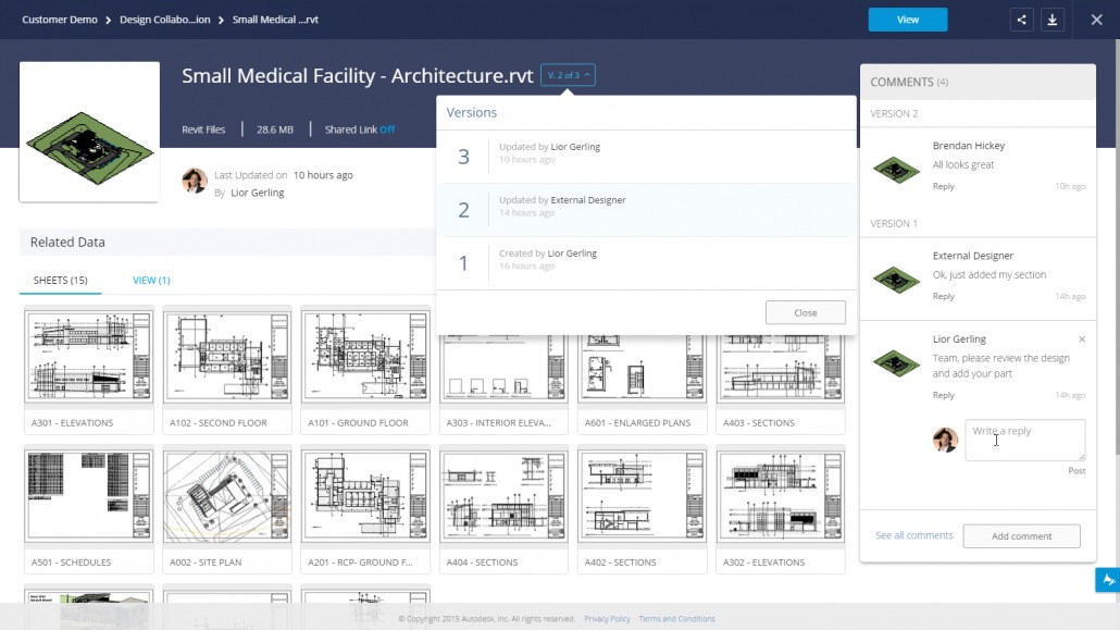 Revit related data sheets