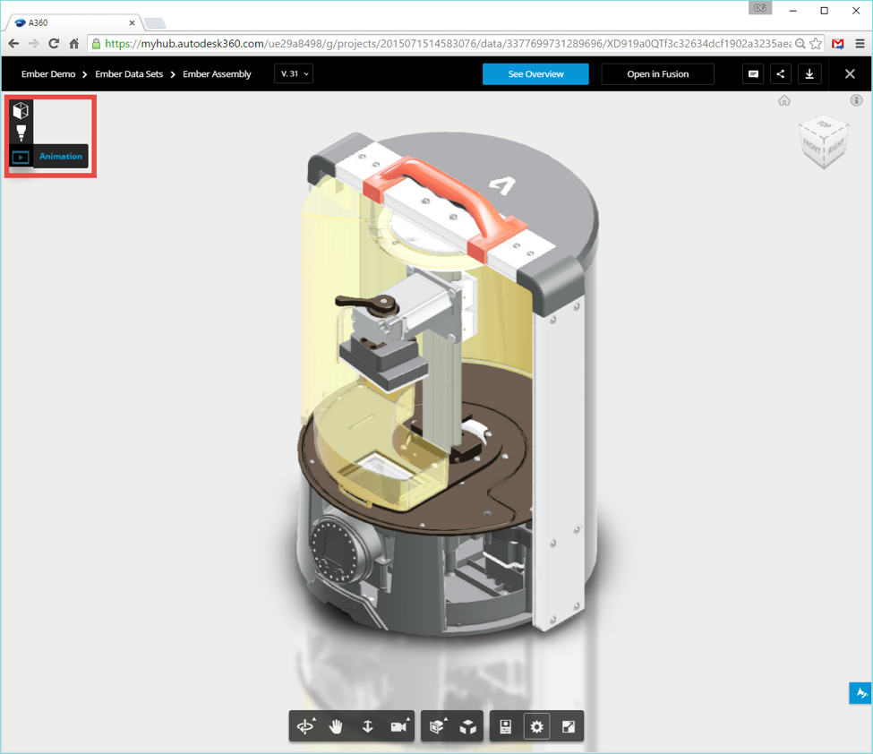 A360 Immersive View of Fusion 360 Related Data (CAM, Animations, Renderings)
