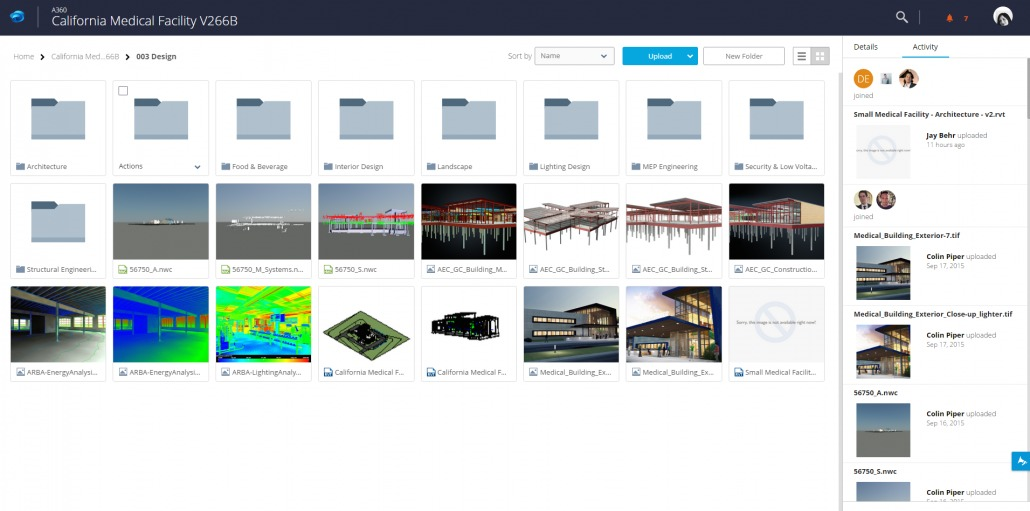 An AEC project in the thumbnail view