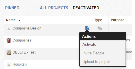 Deactivating/Archiving a project