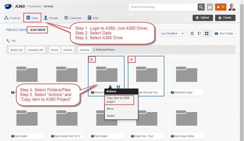 Instructions on how to copy files from A360 Drive to an A360 project