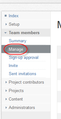 "Expand the ""Team members"" and then click on ""Manage"""