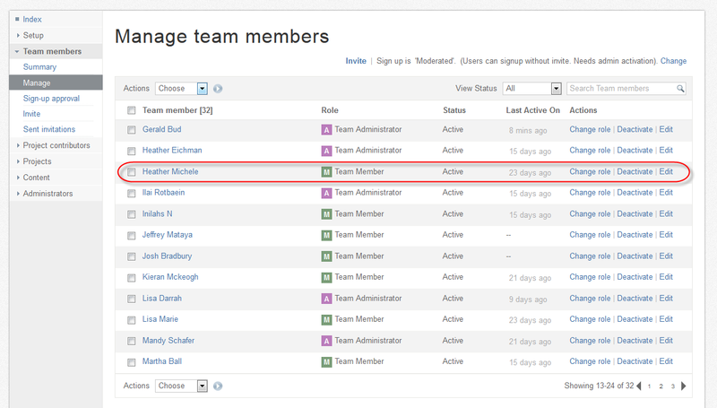 """Change from a team member to a project contributor by clicking on the """"Change role"""" option"""
