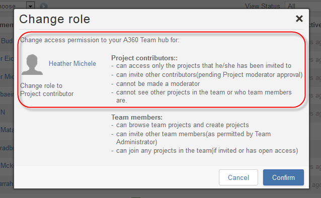 "Click ""confirm"" to change roles"