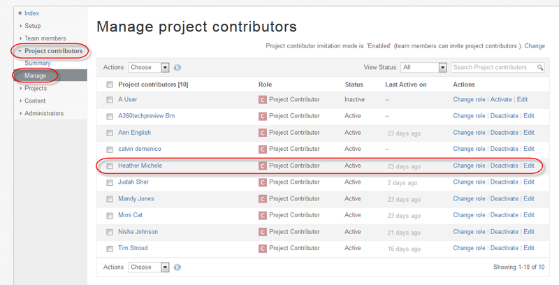 """To verify this - expand """"project contributors"""" on the left side. Then click on """"Manage"""""""
