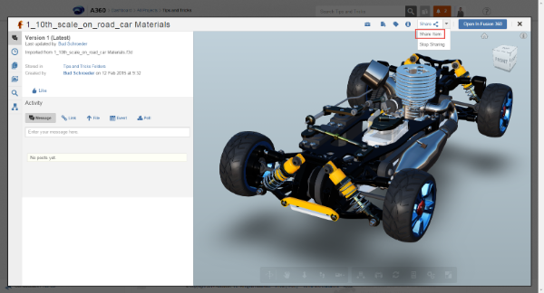 Open your model in the A360 viewer