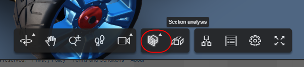 "Selection the ""Section analysis"" icon"
