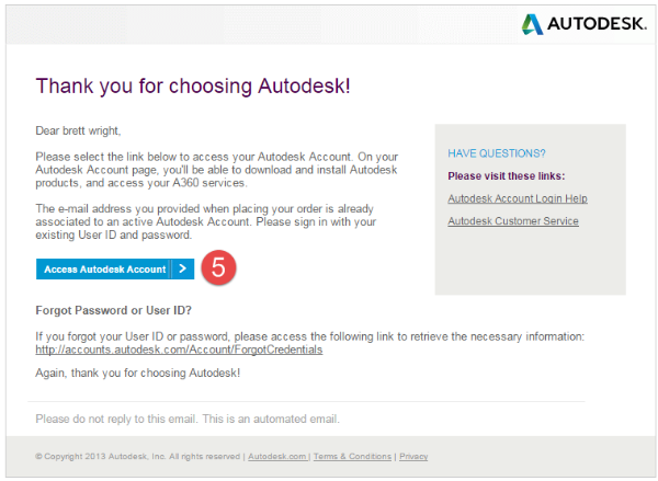Step 5: From the third email, click Access Autodesk Account to begin the activation of your A360 Team hub. You, the assumed Contract Manager, will be redirected to the manage.autodesk.com page where you'll then add your team members and assign your A360 entitlements.