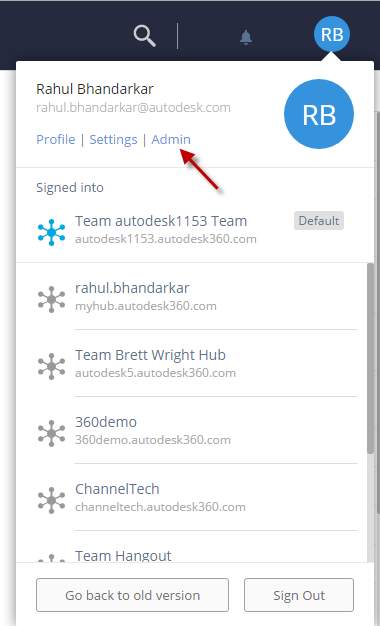 New A360 - Where is the Admin page ? How do I switch between hubs ?