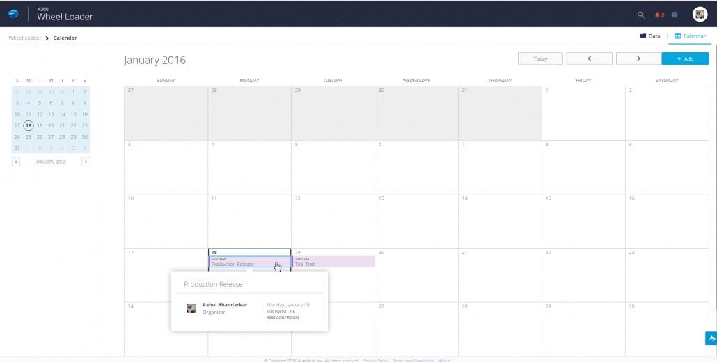A360 Updates Calendar