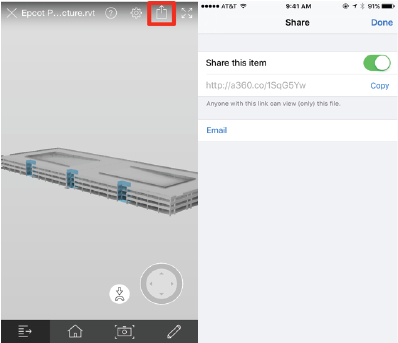 A360 Mobile App Share Feature