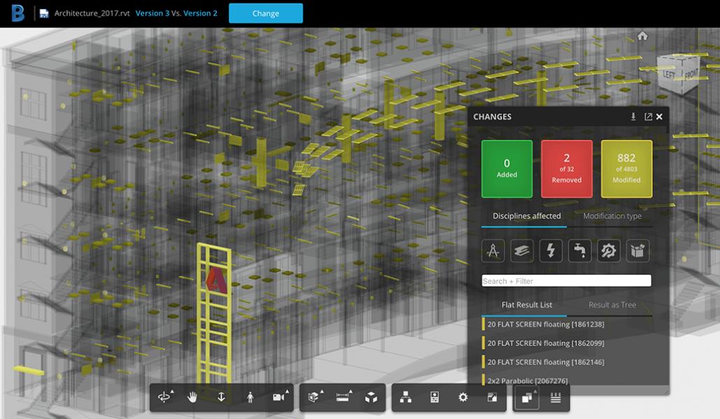 Model Version Control and Compare Controls in BIM360Team UI